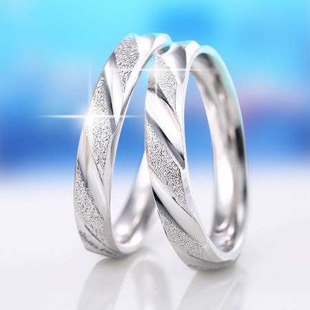 New S925 Silver Matte Simple Engraved Couple Rings