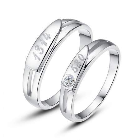 S925 Silver Engraved Wedding Engagement Couple Ring