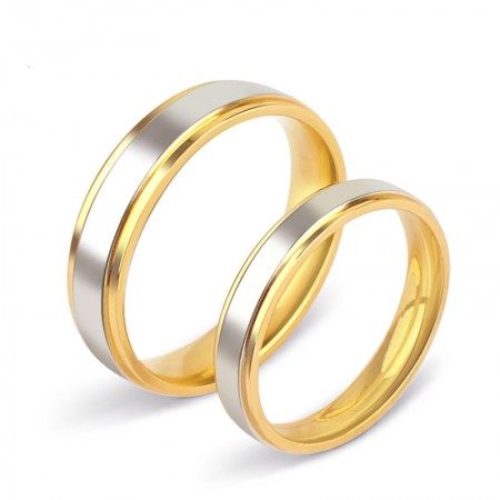 18K Original Creative Engraved Wedding Couple Rings