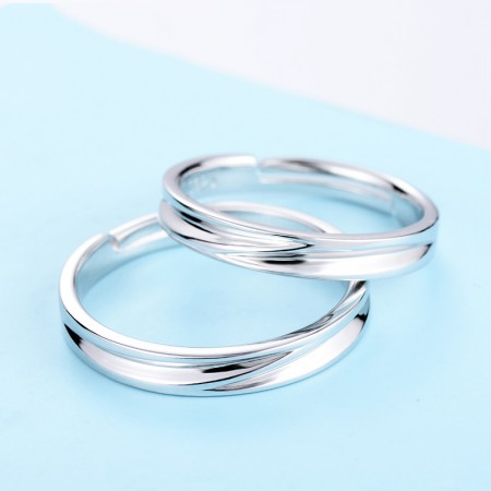 925 Silver Opening Creative Engraved Couple Rings
