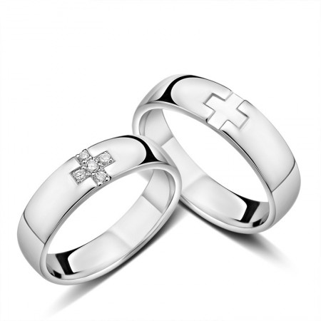 925 Silver Creative Cross Engraved Couple Rings