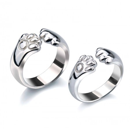 925 Silver Creative Catlike Engraved Couple Rings
