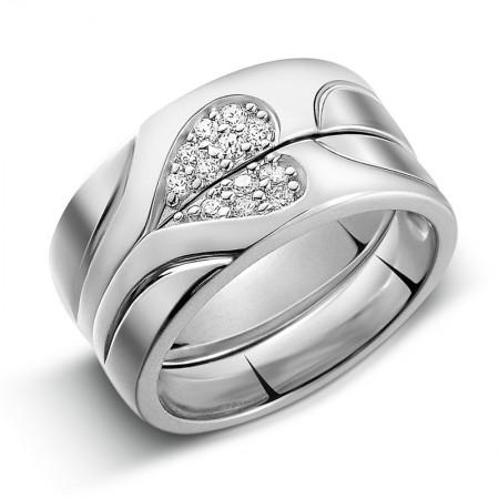 925 Silver Heart-Shaped Diamond Creative Design Engraved Couple Rings
