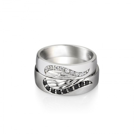 925 Silver Angel Wings Creative Engraved Couple Rings