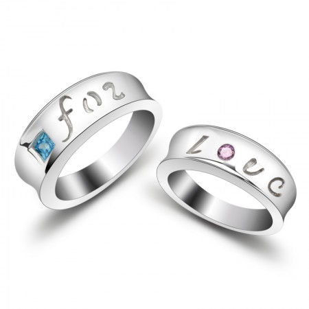 Forever Love 925 Silver Creative Free Engraved Couple Rings