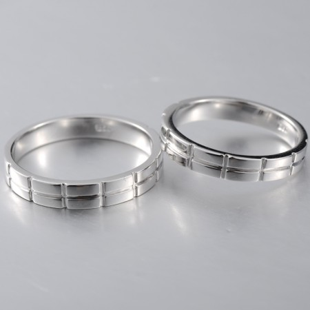 Silver Creative Engraved Solid Models Couple Rings