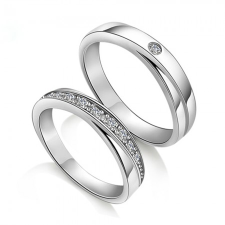 925 Silver Rhodium Lettering Couple Rings