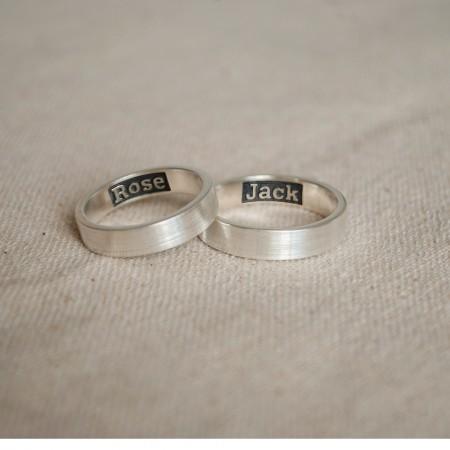 Original Custom Creative Lettering Silver Couple Rings