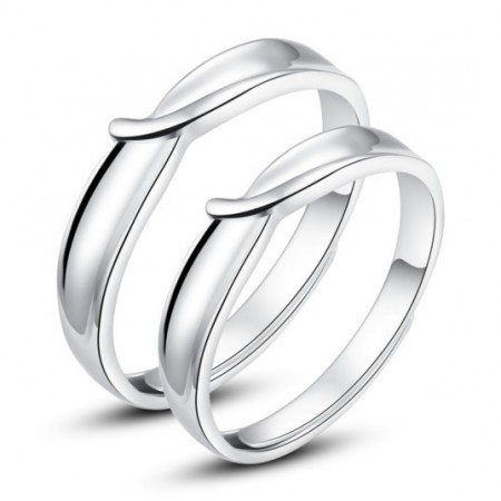Silver Opening Creative Lettering Couple Ring