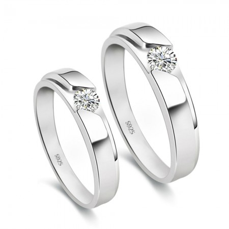 925 Silver Lettering Simulation Couple Rings