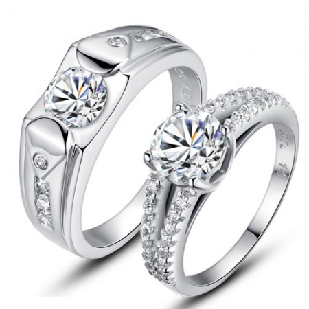 Original 925 sterling silver plated 18K white gold couple rings