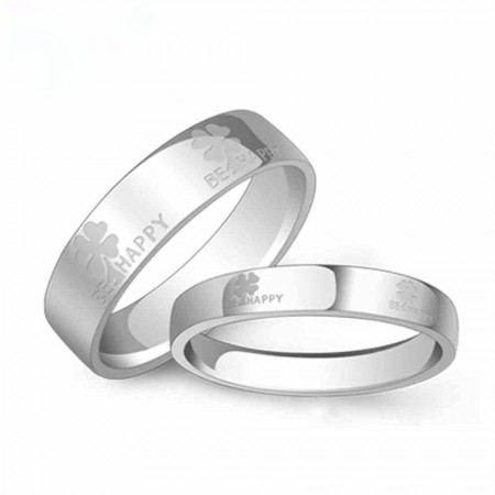 925 Silver Rhodium Clover Lettering Couple Rings