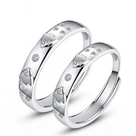 925 Sterling Silver Fish Mouth Opening Sweet Lettering Couple Rings