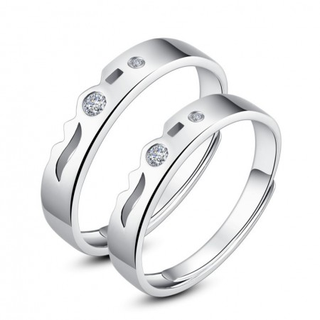 925 Silver Rhodium Opening Couple Rings