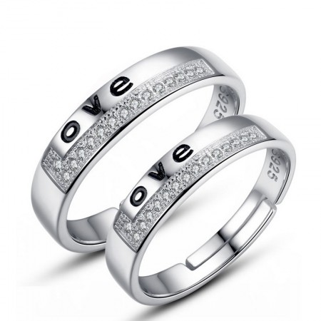 925 Silver Openinlettering Creative Couple Rings