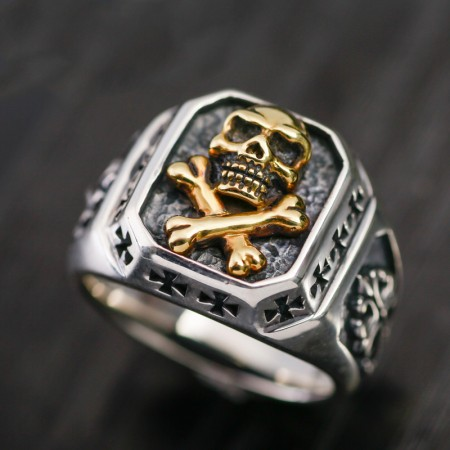 Skull Cross Personalized Ring