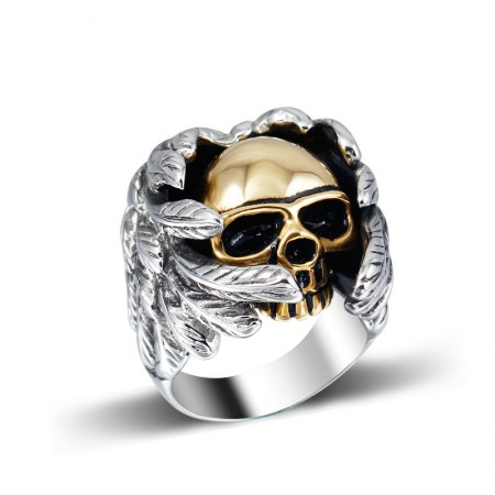 Retro Domineering Personality Titanium Steel Skull Ring