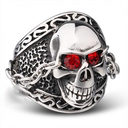 Red-Eye Retro Titanium Steel Skull Men'S Rings