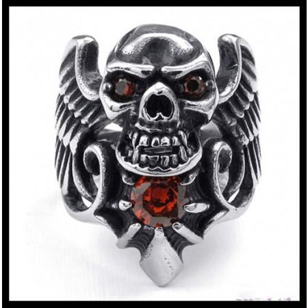 Retro Domineering Skull Ring