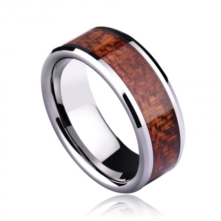 Gilded Wood Inlaid Red Men'S Rings