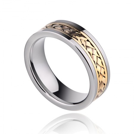 Men's Gold-Plated 18K Gold Inlay Ring