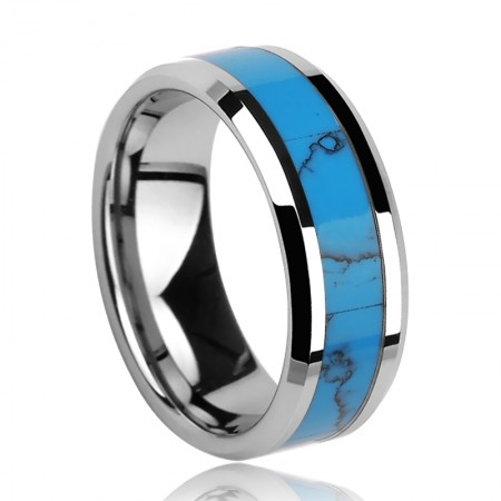 Domineering Tungsten Turquoise Ring