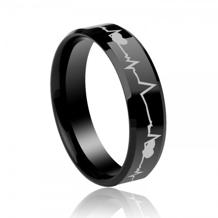 Black Heartbeat Fashion Personality Ring