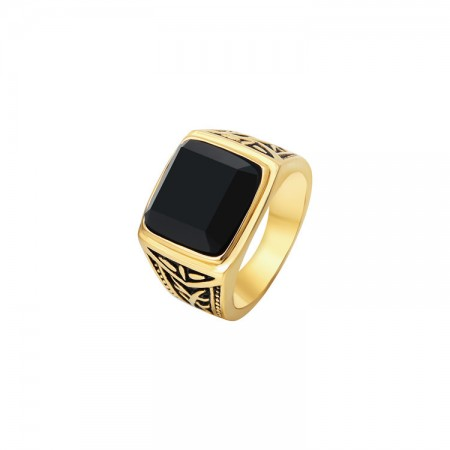 Retro Domineering Black Square Ring