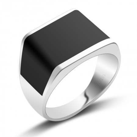 S925 Silver And Black Onyx Square Ring