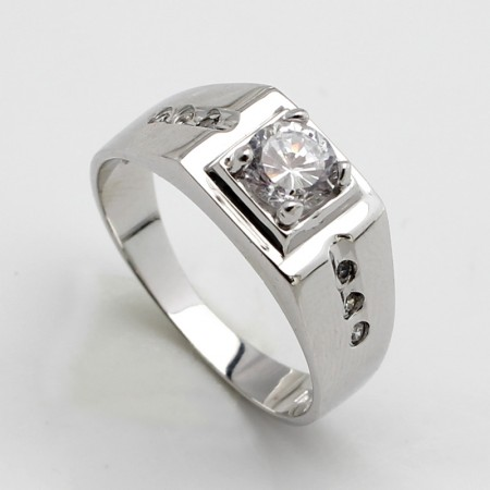 925 Silver Rhodium-Plated Square Ring