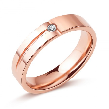 Concise Rose Gold Plated Tungsten Ring