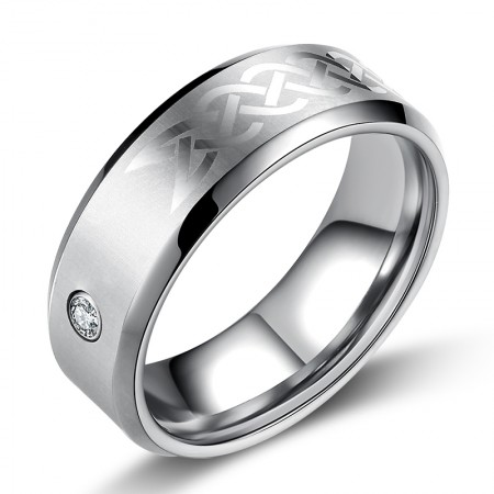 Europe Tungsten Inlaid Zircon Ring