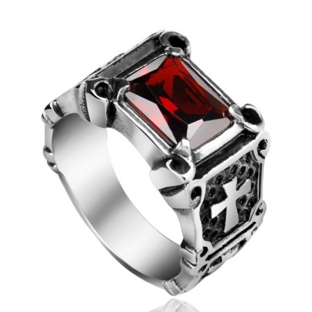 European Retro Ruby Cross Ring