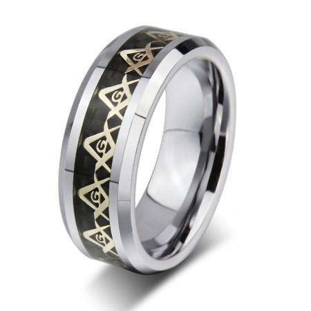 Tungsten Steel Black Masonic Ring