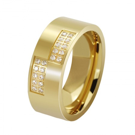 Domineering Personality Gold Titanium Steel Ring