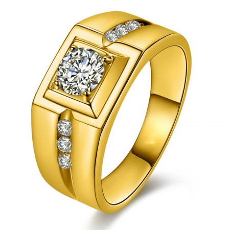 Domineering Plated 24K Gold Diamond Ring