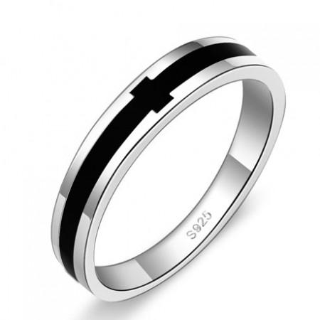925 Silver Black Men'S Rings