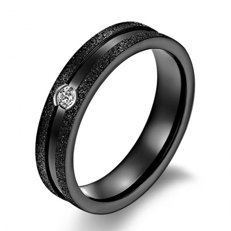 Matte Surface Diamond Titanium Steel Rings