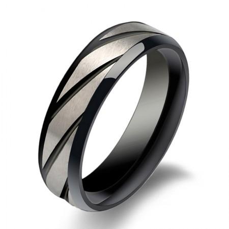 Black Twill Titanium Steel Men'S Rings