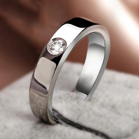 Silver Plated Platinum Men'S Wedding Ring