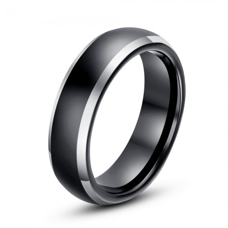 Simple And Elegant Black Tungsten Ring