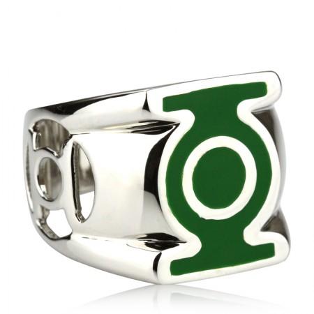 925 Silver Green Lantern Men'S Rings