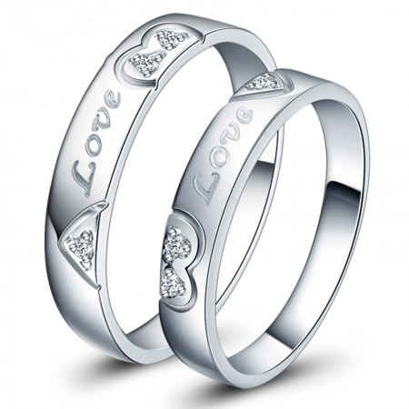 Heart-Shaped 925 Silver Couple Rings