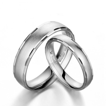 Simple 925 Silver 18K Gold Couple Ring