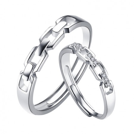 S925 Silver Opening Couple Rings
