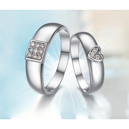 Fashion Heart-Shaped 925 Silver Couple Rings