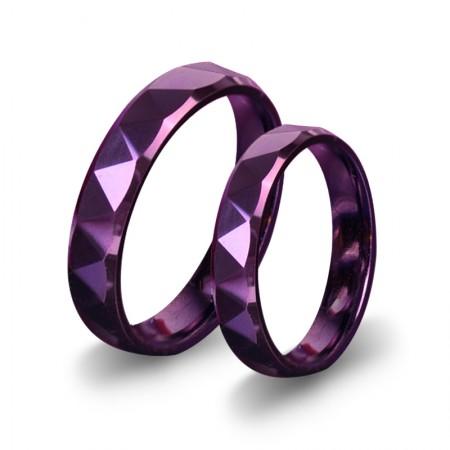 Purple Tungsten Couple Rings