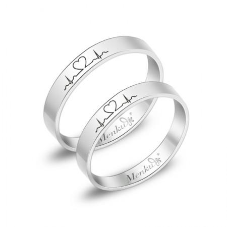 Simple Heartbeat Titanium Steel Couple Rings