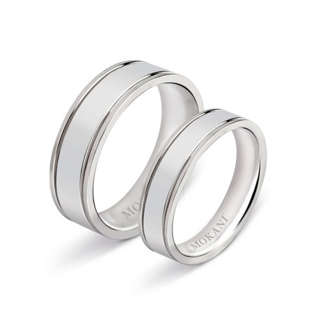 Smooth Simple Titanium Steel Couple Rings