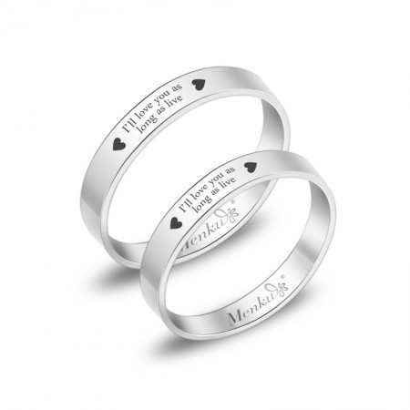 """""""I Love You For Life"""" Titanium Steel Couple Rings"""